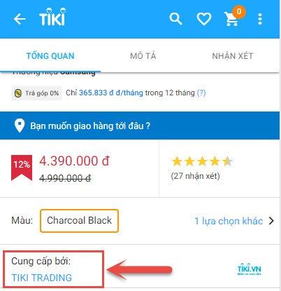 Cách nhận biết sản phẩm do Tiki Trading phân phối trên điện thoại