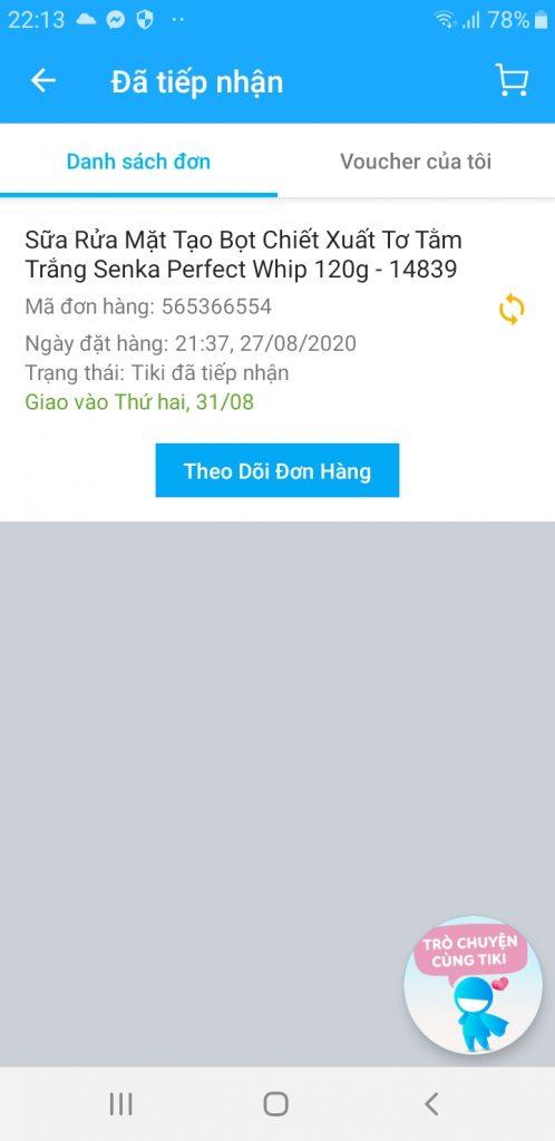 đơn hàng của tôi trên Tiki App
