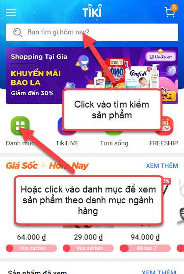 tìm kiếm sản phẩm trên Tiki App