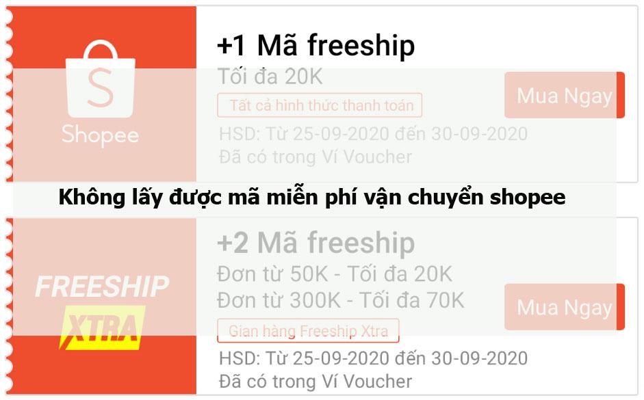 Không lấy được mã miễn phí vận chuyển shopee