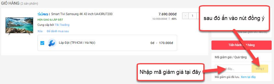 Nhập mã giảm giá Tiki tại phần thanh toán