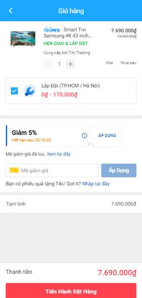 Cách nhập mã giảm giá Tiki trên App