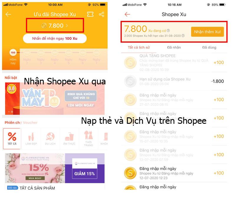 Nhận Shopee Xu qua Nạp thẻ và Dịch Vụ trên Shopee