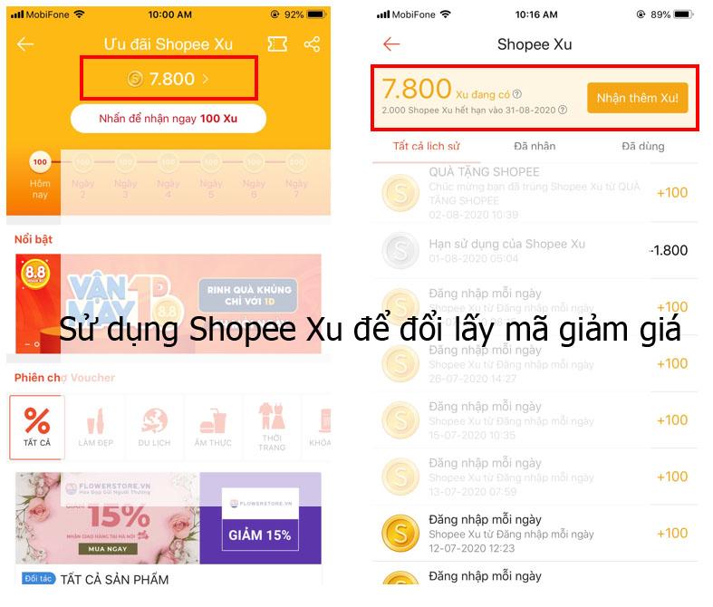 Sử dụng Shopee Xu để đổi lấy mã giảm giá