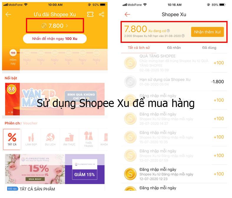 Sử dụng Shopee Xu để mua hàng