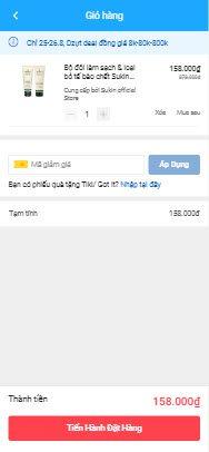 Kiểm tra giỏ hàng và đặt hàng trên Tiki App