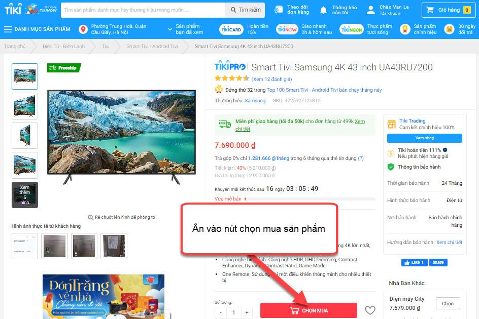 Tìm kiếm và chọn sản phẩm