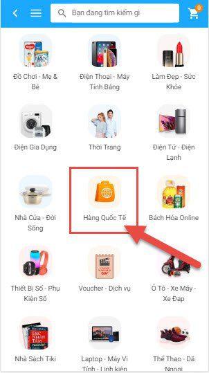 Danh mục Hàng Quốc Tế trên App Mobile