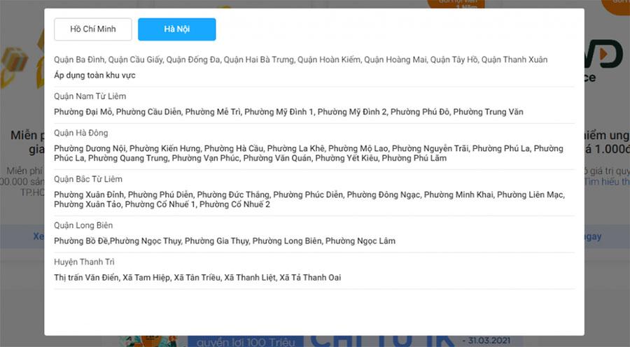 Khu vực áp dụng TikiNOW tại Hà Nội