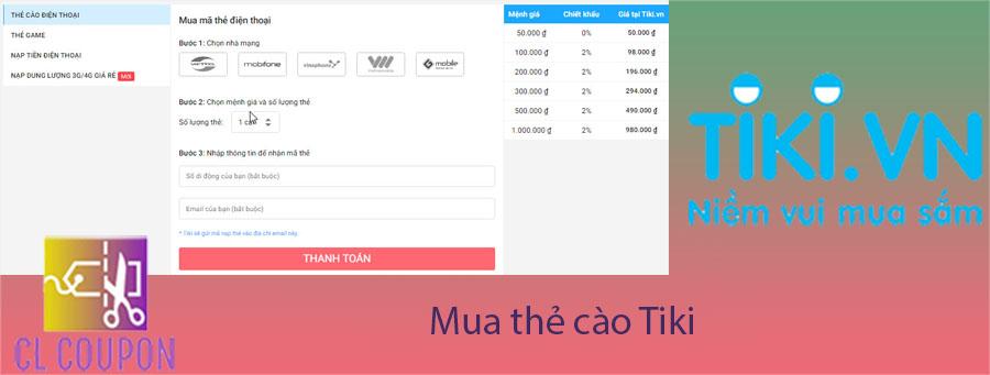 Mua thẻ cào Tiki