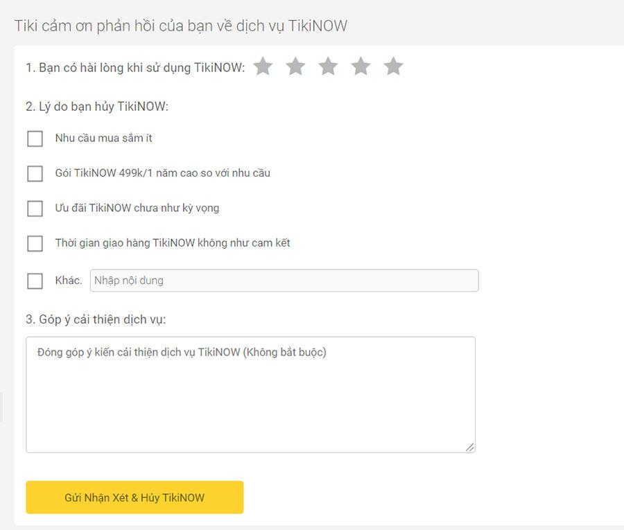 Phản hồi dịch vụ TikiNOW