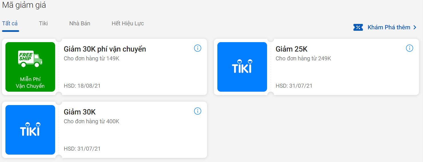 Trang tổng hợp mã giảm giá Tiki đã lưu trong tài khoản