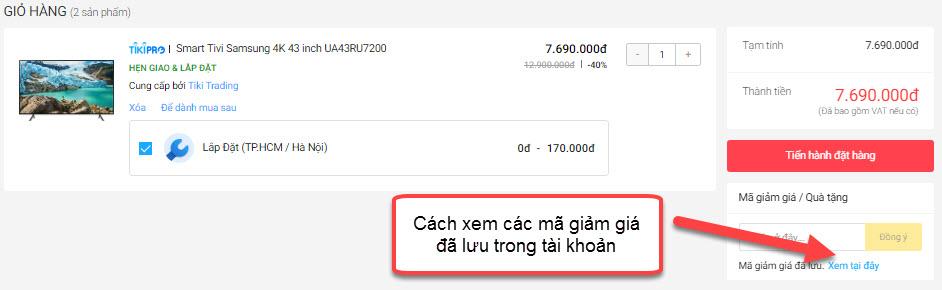 Xem mã giảm giá Tiki đã lưu trong tài khoản