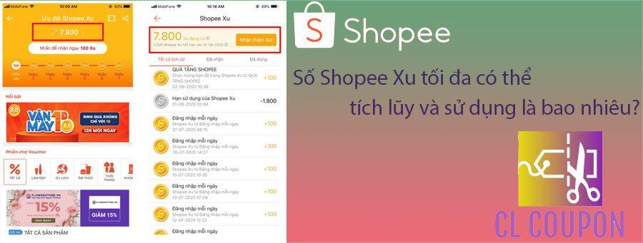 Số Shopee Xu tối đa có thể tích lũy và sử dụng là bao nhiêu?